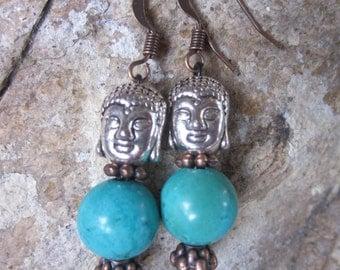 turquoise earrings buddha earrings yoga earrings zen jewelry silver buddha earrings copper earrings turquoise jewelry