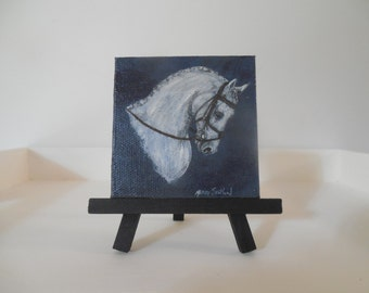 Miniature Painting Dressage Horse Head