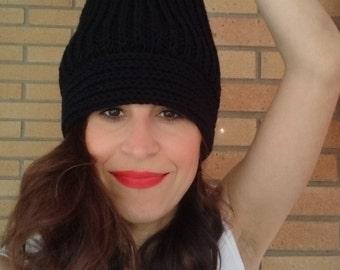 Black women slouchy hat, women slouchy beanie,knitted women hat, winter hat, knitted beanie, winter accesories, women accesories