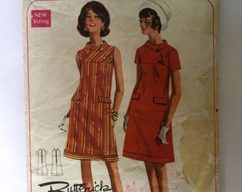 1960s Butterick Pattern 4684, Vintage Sewing Pattern, stylish 60s Mod dress pattern, Size 14 Bust 36