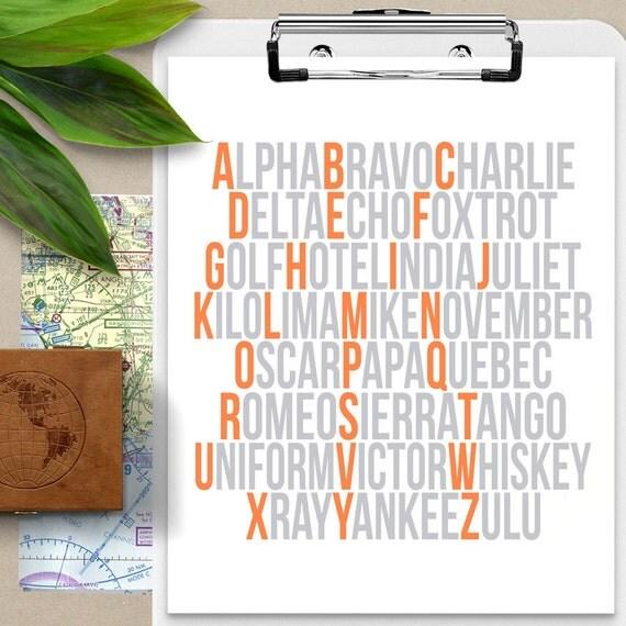 Phonetic Alphabet Nursery Art, Aviation Alphabet Print, Airplane Nursery, Aviation Decor, Airplane Art, Unique Baby Gifts, Pilot Gift, AA120