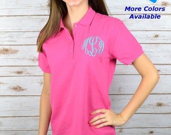 Monogrammed Ladies Polo Pique Personalized Embroidered