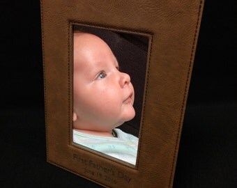 "Dark Brown Faux Leather Picture Frame for 4""x6"" Photo"