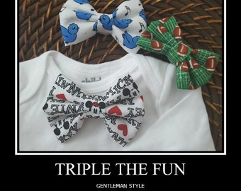 Bowties in a trio made with your Favorite fabric for a T- shirt/Handmade/bowtie sets
