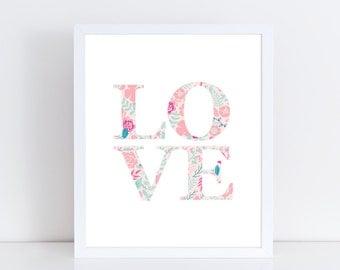 LOVE printable wall art / Digital download / Printable nursery art / Kids printable art / Kids wall art / Printable art / Nursery art print