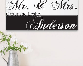 "Personalized Couples Canvas Sign -  Custom Engagement Print -  Personalized Mr and Mrs Canvas Sign - 14"" x 24"" - CA0032"