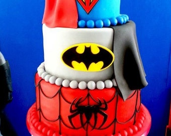 Super heroes batman and superman fondant edible cake decoration logo