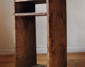 Side table, End table, Nightstand with shelf made from reclaimed wood- Walnut