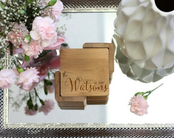 Personalized Coaster Set, Square Wood Coaster Set, Engraved Coasters, Rustic Heart Initial Coaster Set - Set of 6 --21116-CST2-001