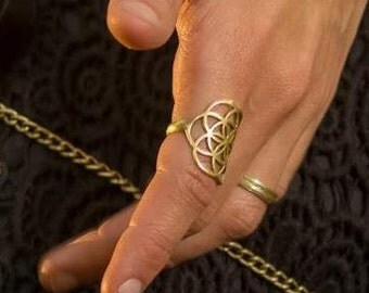 Seed of Life Ring - Sacred Geometry Jewelry, Boho Ring, Gypsy Ring, Tribal Jewelry