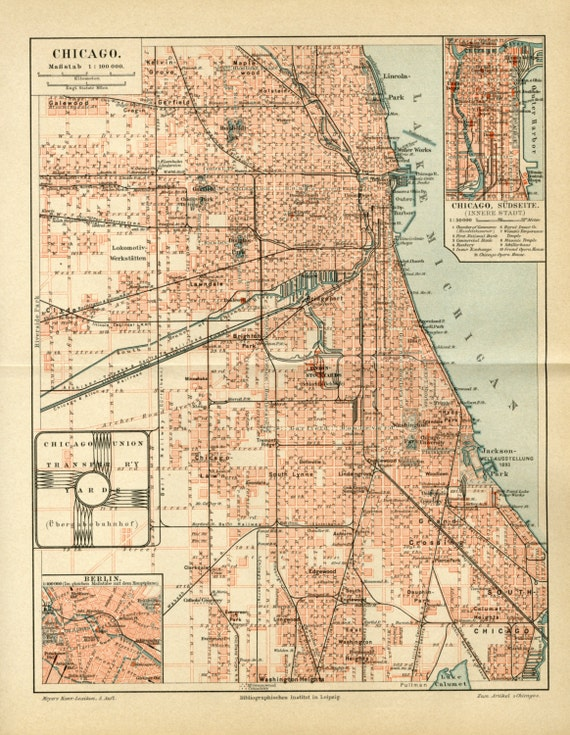 Vintage Map Of Chicago Illinois USA C1895 Vintage Decor