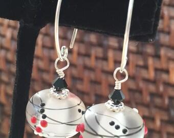 Lampwork Earrings- Handmade SRA Lampwork Beads with Swarovski Bicones Crystals-Lampwork Bead