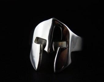 Spartan Helmet Ring - Sterling Silver Men's Ring