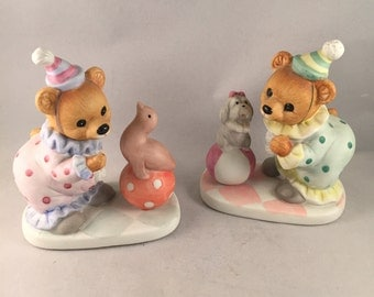 Homco Birthday Bear Clowns and Seal and Puppy Figurines, Set of 2