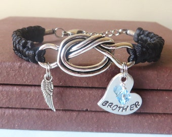 BROTHER Memorial Angel Wing Crystal Birthstone Hand Stamped Love Knot Bracelet You Choose Your Birthstone Charm and Cord Color(s)