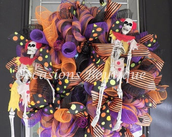 Halloween Wreath, Halloween Decoration, Wreath for Door, Deco Mesh Wreaths, Ready to ship