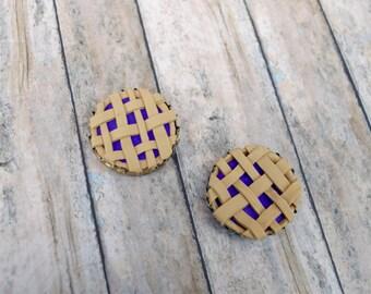 SET OF TWO Pie Magnet, Pie Ornament, , Pie, mini food, mini pie, pie ornament, pie magnet
