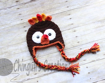 Turkey Hat, Turkey Beanie, Thanksgiving Hat Baby Turkey Hat Fall hat Crochet turkey Hat Thanksgiving photo props Newborn Turkey hat