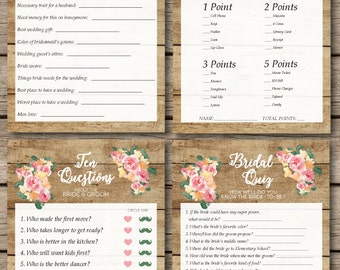 Rustic Watercolor Floral and Wood Bridal Shower & Wedding Game Suite (4 Games)