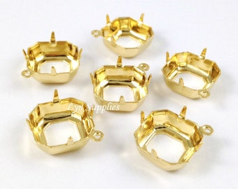 24K Gold Plated Square Settings 12x12mm 10pcs OPEN BACK 1 Loop Octagon Cushion Cut - Fits Swarovski 4470