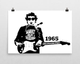 "Bob Dylan Poster 24x36"" Newport Folk Festival 1965"