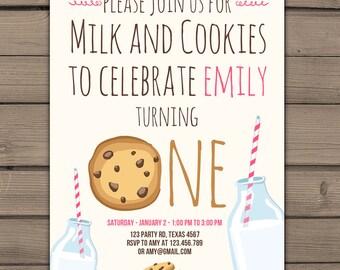 Milk and Cookies Invitation Pink white Chocolate chip cookies Milk and cookies party Milk cookies Birthday invite Digital PRINTABLE ANY AGE
