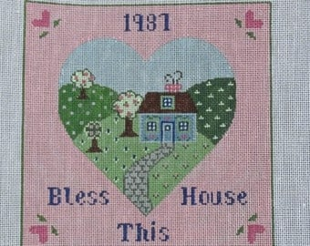 Vintage Wee Needle Bless this House 17 count Needlepoint Canvas  FREE Shipping USA