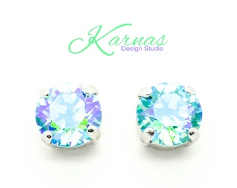 AQUA GLACIER 8mm Crystal Chaton Stud or Post Earrings Made With Swarovski Elements *Pick Your Finish *Karnas Design Studio *Free Shipping*