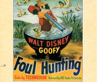 "Vintage Disney Poster Print, 1947 Goofy Movie Poster Foul Hunting Item 105 Standard Size 11"" x 14"" Wall Art"