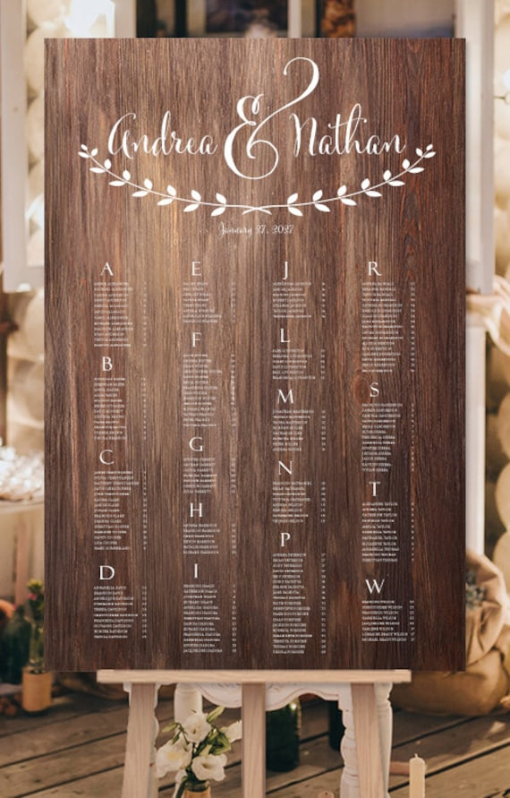 Wedding Seating Chart Poster Andrea Wooden By Weddingtemplates