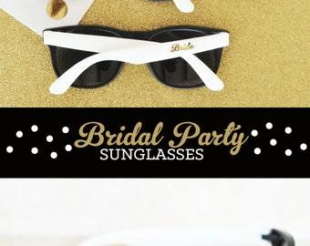 Bridesmaid Sunglasses 6 Bridal Party Sunglasses Team Bride Sunglasses Maid of Honor Flower Girl Sunglasses (EB3108) - SET of 6 SUNGLASSES