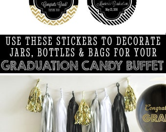 Graduation Stickers Personalized Graduation Stickers 2016 Custom Graduation Stickers Graduation Labels (EB4007G) - set of 24 