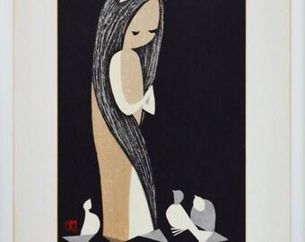 Original Kaoru Kawano Vintage Mid-century Japanese Wood Block Print, Doves and Girl, Modern Graphic Abstract Art, Wall Hanging, Japan