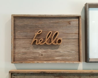 Rustic Sign  |  Wall Art Home Decor  | HELLO Sign  |  Retro Upcycled Design
