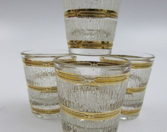 Mid Century Culver Banded Icicle Shot Glasses