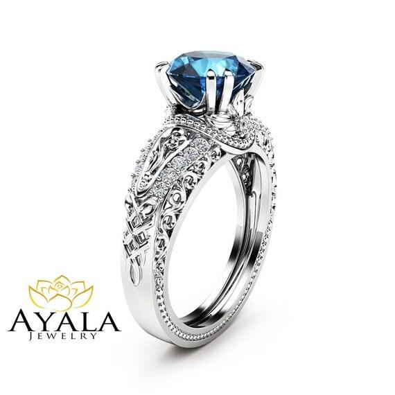 blue topaz engagement ring 14k white gold 2 carat topaz