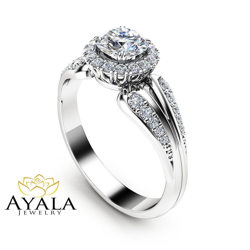 Unique Engagement Ring Natural Diamond Engagement Ring Unique