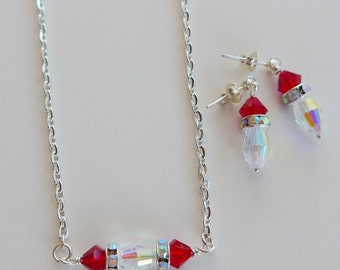 Crystal necklace, red necklace, Swarovski necklace