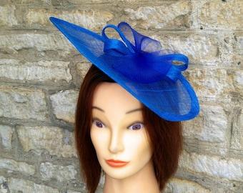 Royal blue wedding hat wedding fascinator statement hat races hatinator church hat blue races hat christening hat, tea party fascinator