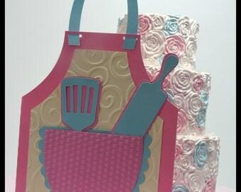 Apron Invitations| Bake Shoppe Party| Girls Baking Party| Baking Party Theme| Cupcake Party| Baking Party Invitations| Handmade Invitations