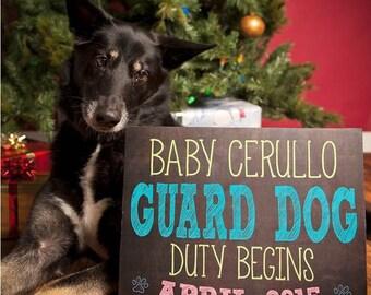 Chalkboard Pregnancy Announcement Photo Prop for Dog  Guard Dog Duty Begins *Digital File* by MMasonDesigns