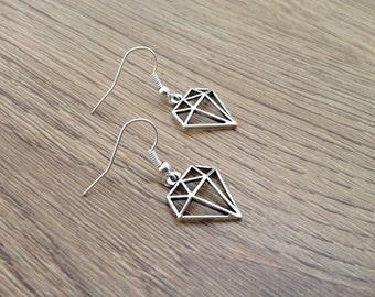 Earrings, earwires, silver, geometric diamond