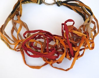Textile Jewelry/Statement Necklace/PEPITA Juicy Color Silk Necklace/Chunky Multistrand Necklace/Wrap Necklace/Italian Design/Fashion Jewelry