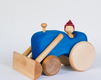Blue wooden tractor, wooden tractor by l'Atelier Cheval de bois