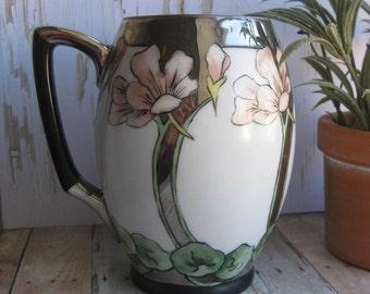 Antique Deco Ceramic Vase- Vintage Deco Flowered Vase 1907- Hand Painted Antique Vase