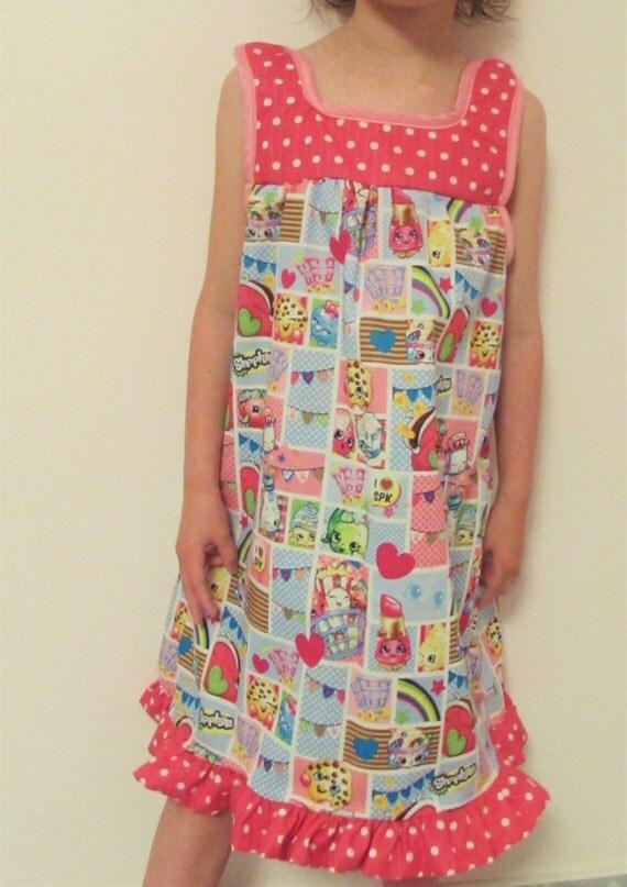Shopkins nightgown/shopkins pajamas/Shopkins gown/cotton nightgown/shopkins cotton/long nightgown/girls nightgown/toddler shopkins