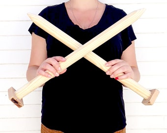 Giant Knitting Needles for DIY Chunky Knit Blankets, Extreme Knitting, Super Chunky Knit Blanket, Bulky Throw