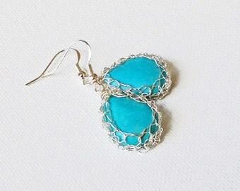 Crochet wire earrings.Knitted turquoise earrings.Gem stone Sterling silver earrings. Romantic Vintage style Dainty earrings Wire crochet