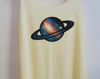 CLEARANCE  PLANET Shirt Galaxy Vintage Tank Top Art  T-Shirt  Shirt Shirt Women Moon  Shirt  Women T-Shirt Tunic Top Size S,M,L