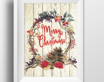 Merry Christmas Wreath Printable Large Rustic Christmas Wall art Festive Home Decor Christmas Sign Card 4x6 5x7 8x10 11x14 16x20 Wood planks